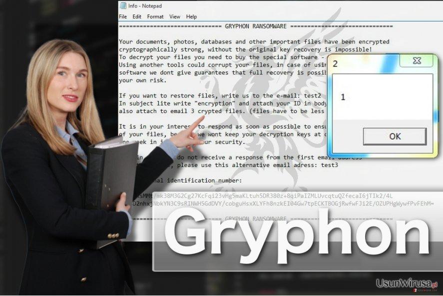 Przedstawienie wirusa ransomware Gryphon
