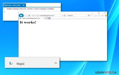 Screenshot przedstawiający plik HBPix oraz stronę /idpix.media6degrees.com