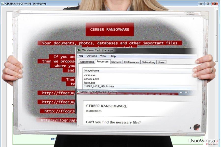 Zrzut ekranu wirusa Help_help_help