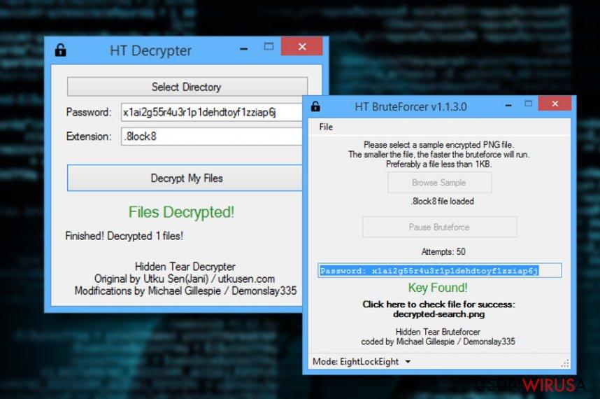 Dekrypter ransomware'a HiddenTear