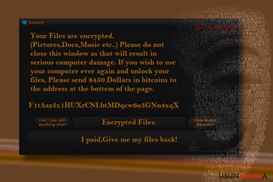 Odmiana Restore ransomware'a HiddenTear