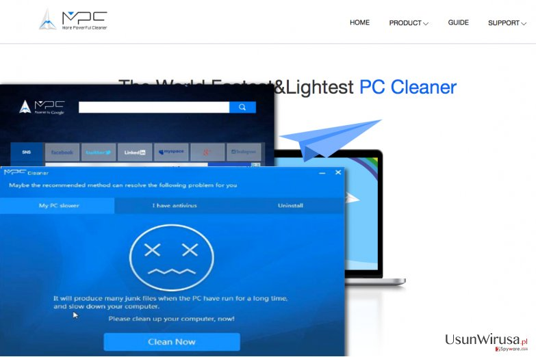 MPC virus claims that it can clean the computer