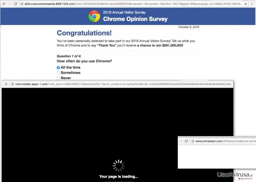Zrzuty ekranu reklam isanalyze.com oraz jego przekierowań