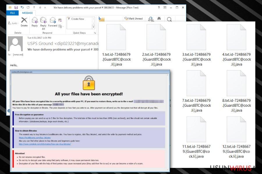 Wirus ransomware rozszerzenia pliku .java snapshot