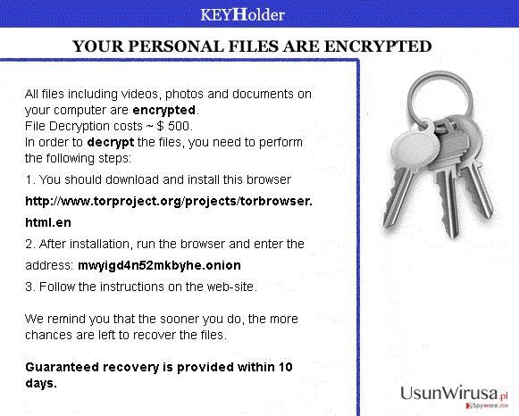The picture showing KEYHolder ransomware virus