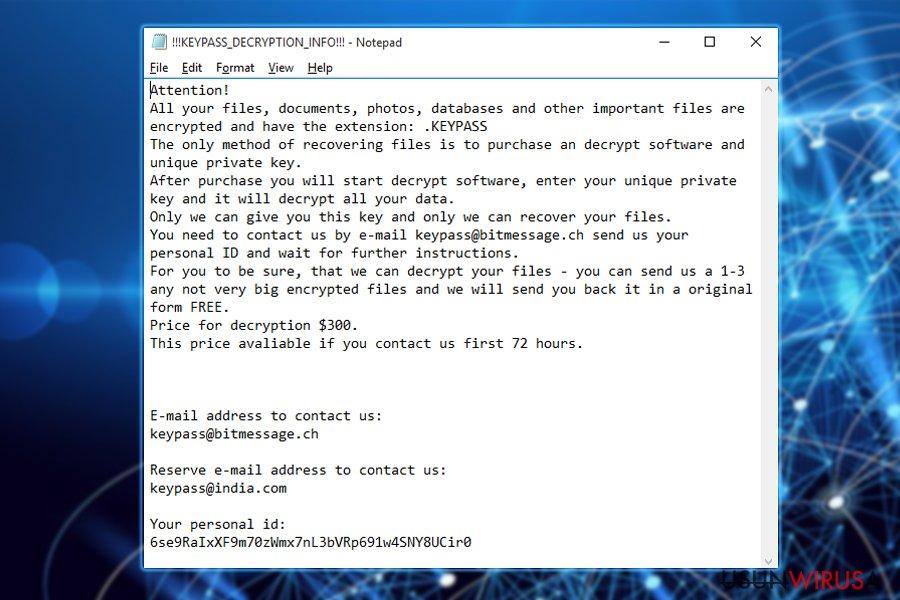 Żądanie okupu ranomware'a Keypass