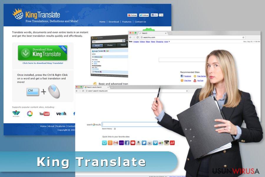 Przykła wirusa King Translate
