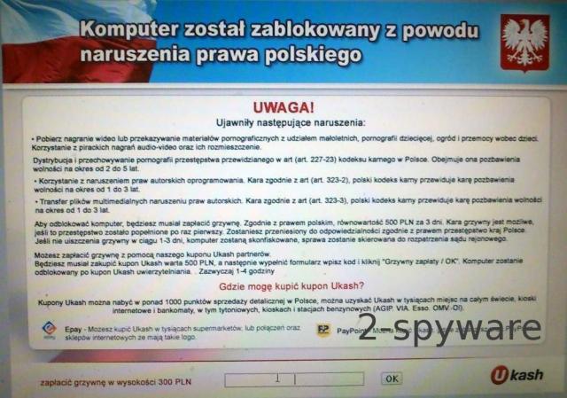 Komputer zostal zablokowany naruszenia prawa polskiego snapshot
