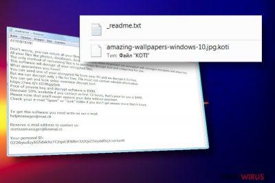 Notatka ransomware Koti