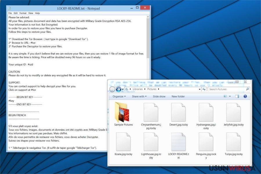 Obrazek ransomware'a Locky Locker