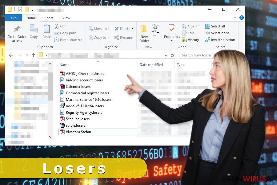 Atak wirusa ransomware Losers