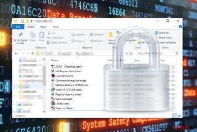 Pliki zaszyfrowane przez wirusa ransomware Losers