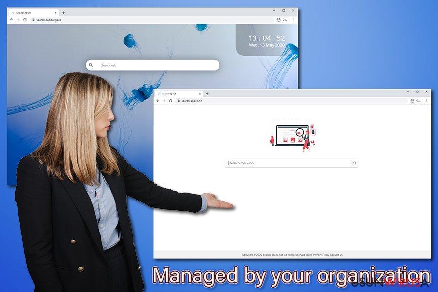 Powiadomienie Zarządzane przez Twoją organizację