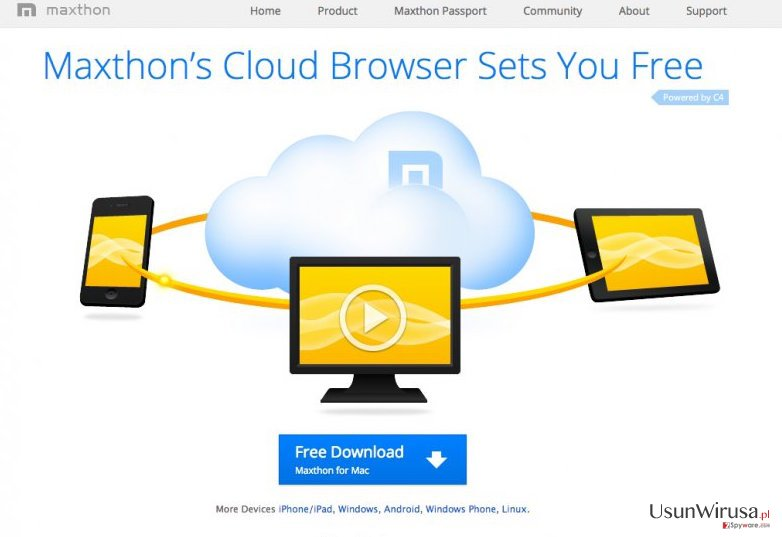 The example of Maxthon browser virus
