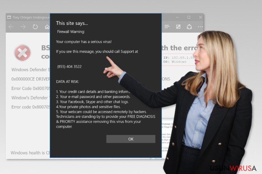 Fałszywe wsparcie techniczne Microsoft Edge