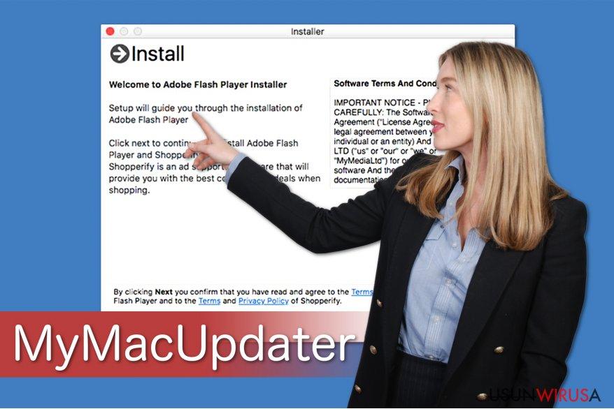 Ilustracja pokazująca, jak MyMacUpdater jest dołączany do freeware'ów