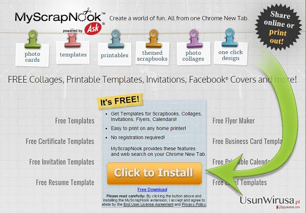 The example of MyScrapNook Toolbar