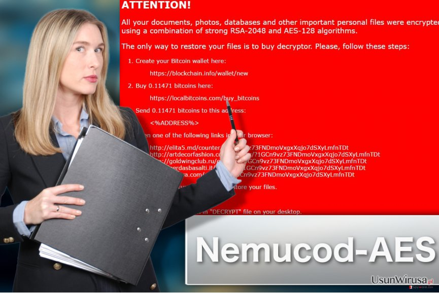 Prezentacja wirusa ransomware Nemucod-AES