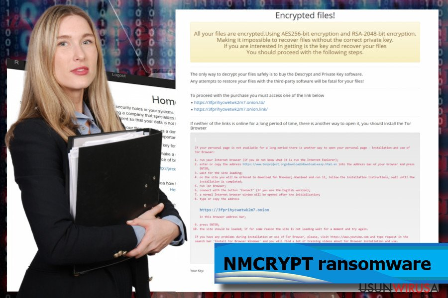 Zrzut ekranu ransomware'a NMCRYPT