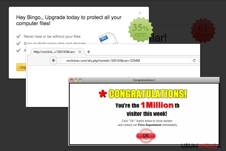 Examples of Onclickrev.com redirect