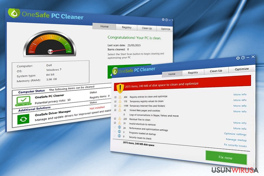The image displaying OneSafe PC Cleaner program