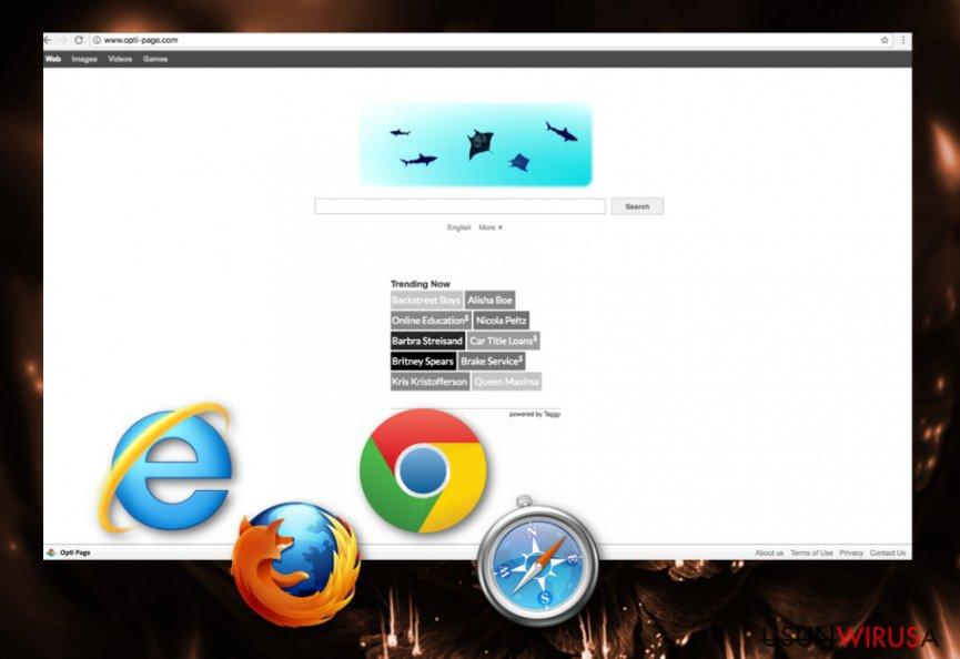 Porywacz przeglądarki Opti-Page.com