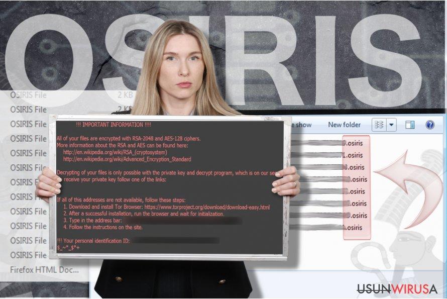 Wirus ransomware Osiris snapshot