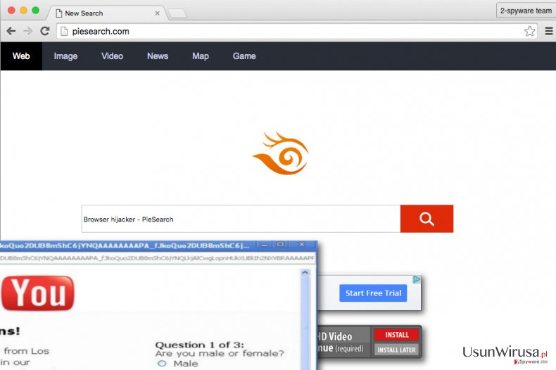 PieSearch browser hijacker sets PieSearch.com as homepage