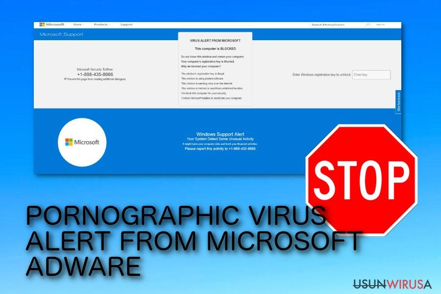 Wyskakujące oszustwo PORNOGRAPHIC VIRUS ALERT FROM MICROSOFT