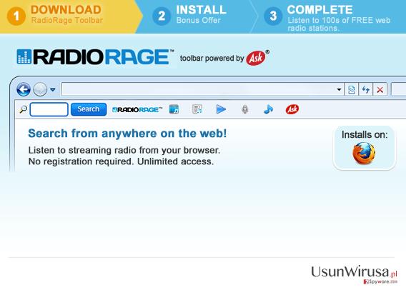 Pasek narzędziowy RadioRage snapshot