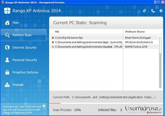 Rango XP Antivirus 2014 snapshot