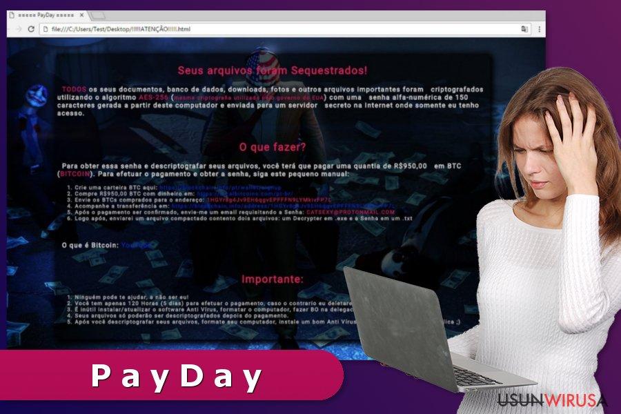 Żądanie okupu od wirusa ransomware PayDay