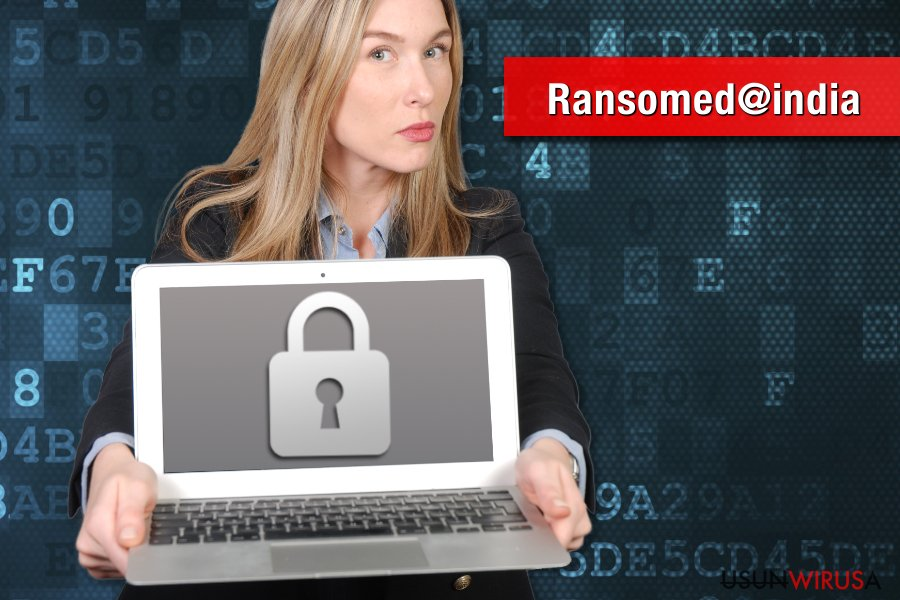 Obrazek wirusa ransomware Ransomed@india