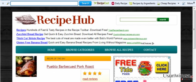 RecipeHub Toolbar snapshot