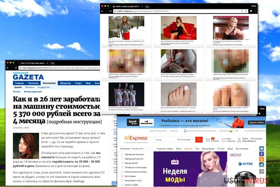Wyskakujące okienki z rosyjskimi reklamamy