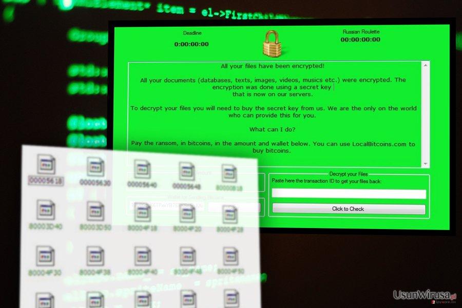 Obraz wirusa ransomware RussianRoulette