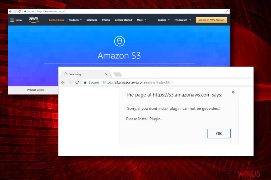 Showing s3.amazonaws.com virus