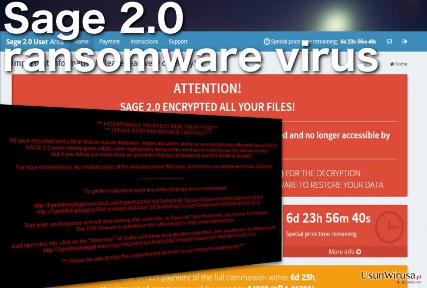Wirus ransomware Sage 2.0 snapshot