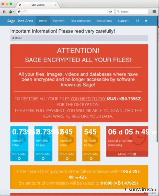 Wirus ransomware Sage snapshot