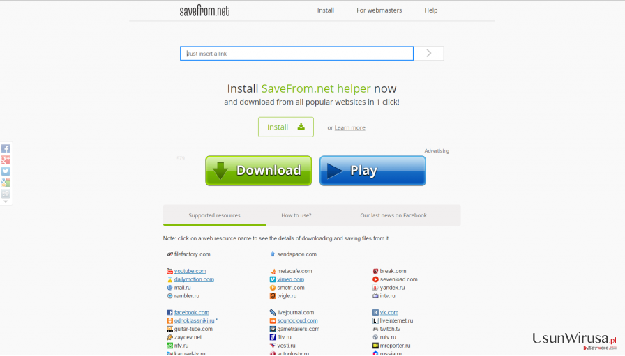 Official website of Savefrom.net helper