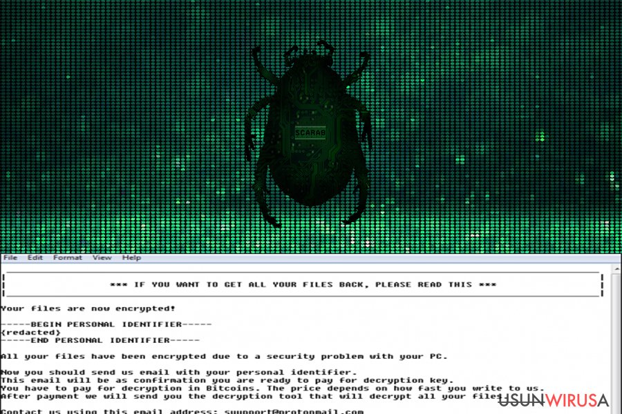 Wirus ransomware Scarab snapshot