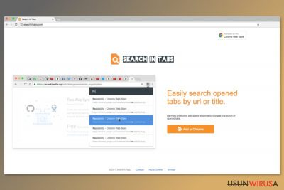 Screenshot strony pobierania Search In Tabs