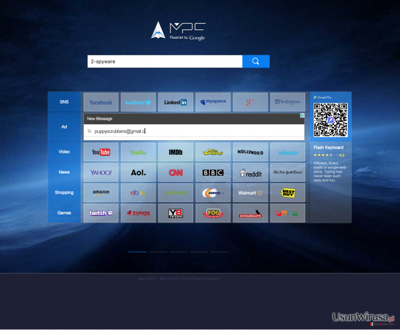 The picture showing Search.mpc.am browser hijacker