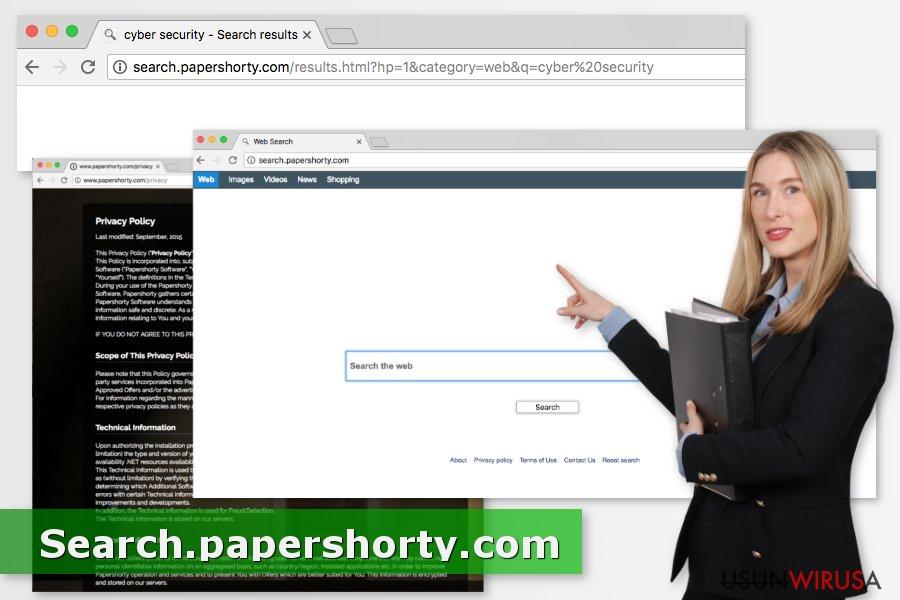 Przedstawienie wirusa Search.papershorty.com