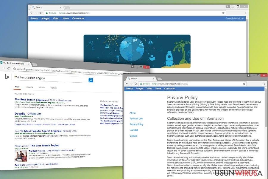 Przedstawienie porywacza przeglądarki SearchAssist.net