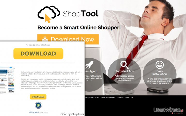 The official website of ShopTool adware also causes redirects