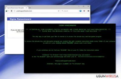 Zrzut ekranu z malware'm Sigma