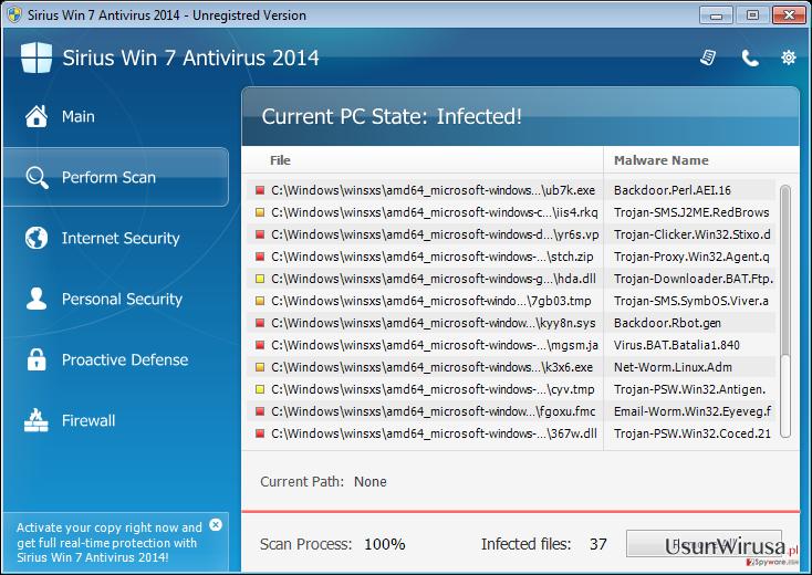 Sirius Win 7 Antivirus 2014 snapshot