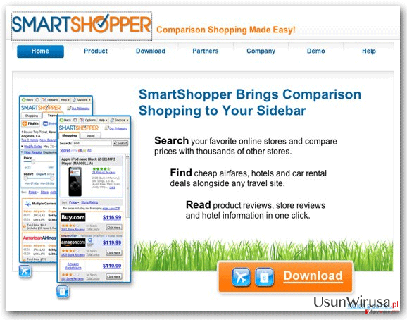 Wirus 'Ads by SmartShopper' snapshot