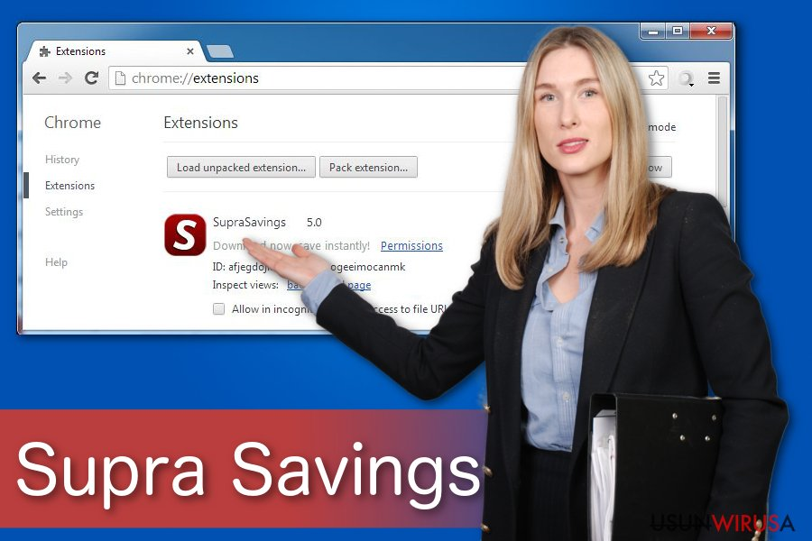"""Ads by Supra Savings"" virus snapshot"